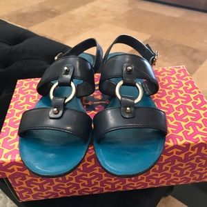 Tory Burch sandals Navy leather sz9 1/2 like new
